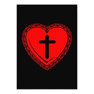 """Corazón gótico + Invitaciones cruzadas (negro + Invitación 5"""" X 7"""""""