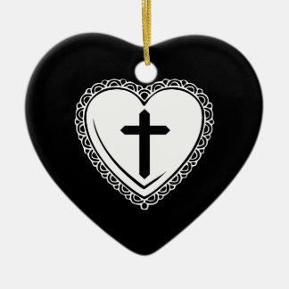 Corazón gótico + Ornamento cruzado (negro + Adorno Navideño De Cerámica En Forma De Corazón