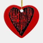 Corazón grabado rayado rojo adorno