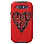 Corazón grabado rayado rojo galaxy s3 carcasa