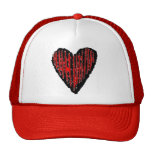 Corazón grabado rayado rojo gorros