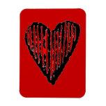 Corazón grabado rayado rojo imán flexible