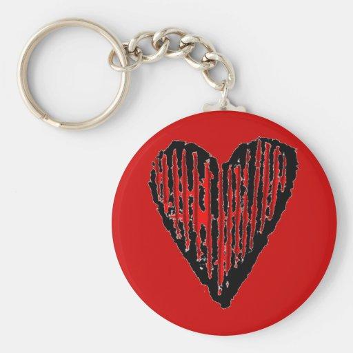 Corazón grabado rayado rojo llaveros personalizados