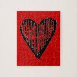 Corazón grabado rayado rojo puzzles con fotos