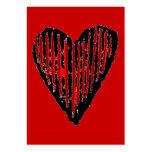 Corazón grabado rayado rojo tarjetas personales