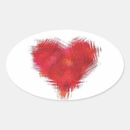 Corazón gráfico pegatina ovalada