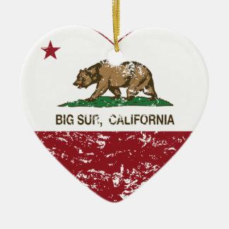 corazón grande del sur de la bandera de California Adorno Navideño De Cerámica En Forma De Corazón