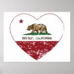 corazón grande del sur de la bandera de California Posters