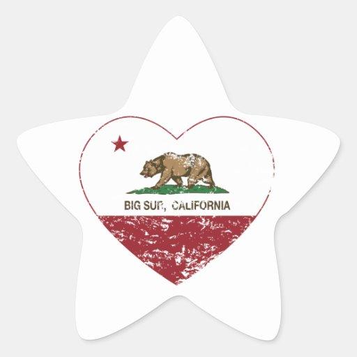 corazón grande del sur de la bandera de California Colcomanias Forma De Estrella Personalizadas