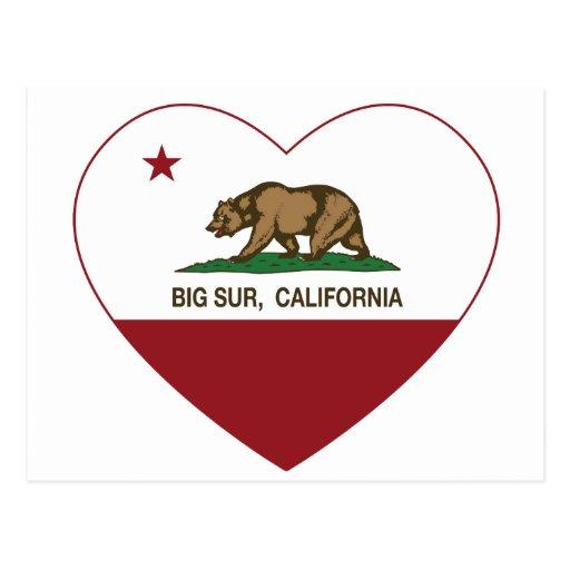 corazón grande del sur de la bandera de California Tarjeta Postal
