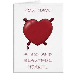 Corazón grande y cerebros jugosos… tarjeta de felicitación