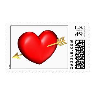 Corazón grande y rechoncho con una flecha de oro franqueo