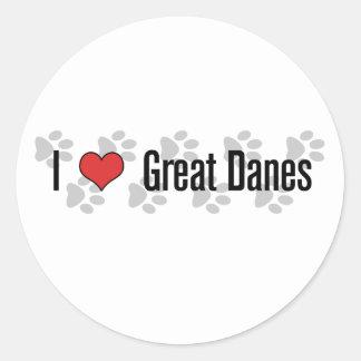 (Corazón) grandes daneses I Pegatina Redonda