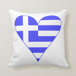Corazón griego de la bandera enrrollado cojines