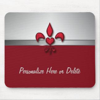 Corazón gris blanco rojo personalizado de la flor  alfombrillas de raton
