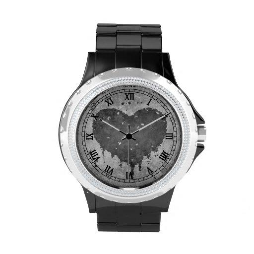 Corazón gris sucio romántico reloj de mano