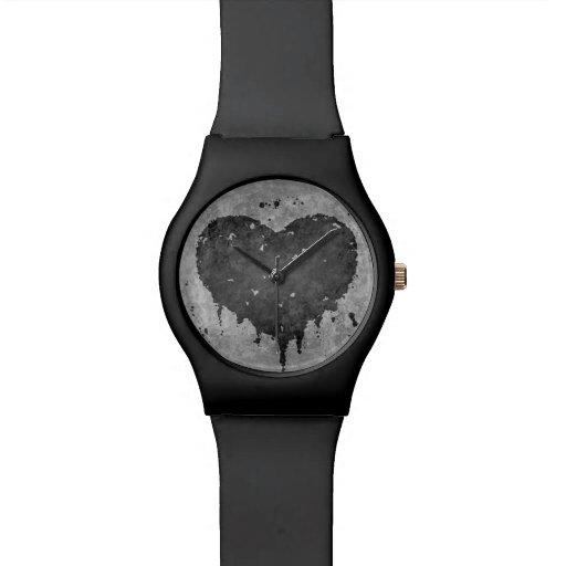 Corazón gris sucio romántico reloj