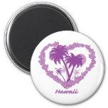 Corazón hawaiano de la palmera imán redondo 5 cm