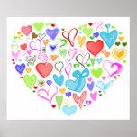 Corazón hecho de corazones - rosa rojo del verde póster