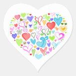 Corazón hecho de corazones - rosa rojo del verde pegatina en forma de corazón