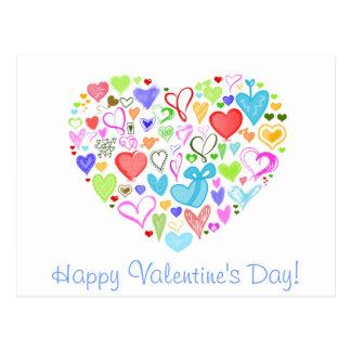 Corazón hecho de corazones - rosa rojo del verde tarjetas postales