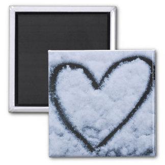 Corazón helado imán cuadrado