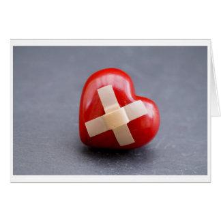 corazón herido tarjeta de felicitación