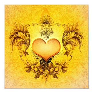 """Corazón hermoso con los elementos florales invitación 5.25"""" x 5.25"""""""