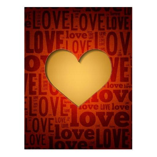 Corazón hermoso de la materia textil - tarjeta del postal
