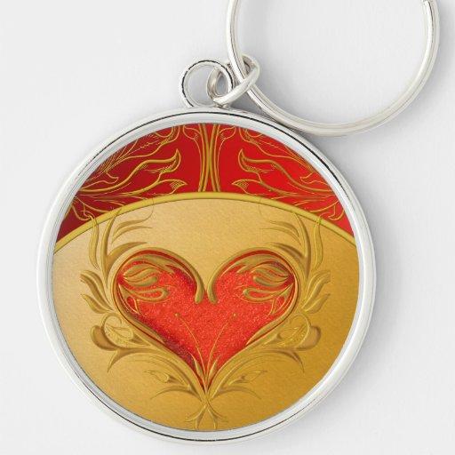 Corazón hermoso intrépido llavero personalizado