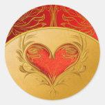 Corazón hermoso intrépido pegatina redonda