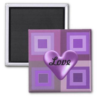 Corazón hinchado púrpura imán cuadrado