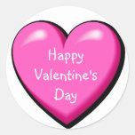 Corazón hinchado rosado etiqueta