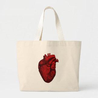 Corazón humano anatómico bolsa tela grande