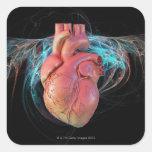 Corazón humano, ilustraciones del ordenador calcomanías cuadradass personalizadas