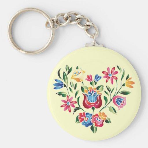 Corazón húngaro de la flor del OPUS Llavero Redondo Tipo Pin