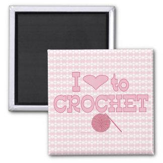 Corazón I a crochet Imán Cuadrado