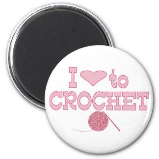 Corazón I a crochet Imán Redondo 5 Cm
