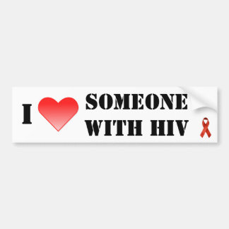 Corazón I alguien con el VIH Pegatina De Parachoque