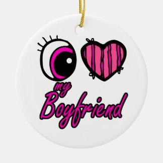 Corazón I del ojo de Emo mi novio Adorno Redondo De Cerámica