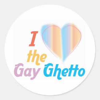 Corazón I el ghetto gay Pegatina Redonda