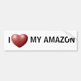 Corazón I el mi Amazonas Etiqueta De Parachoque