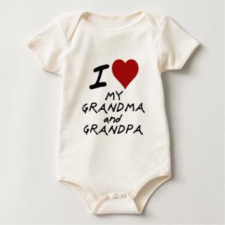 corazón i mi abuela y abuelo body para bebé