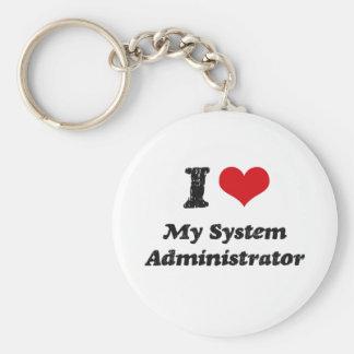 Corazón I mi administrador de sistema Llavero Redondo Tipo Pin