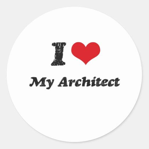 Corazón I mi arquitecto Etiquetas Redondas