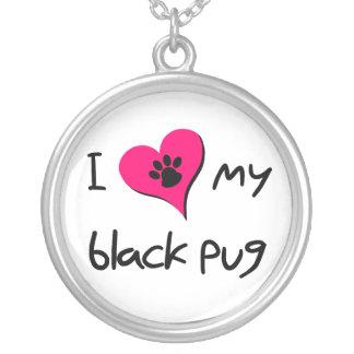 Corazón I mi barro amasado negro Pendiente Personalizado
