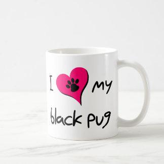 Corazón I mi barro amasado negro Taza De Café
