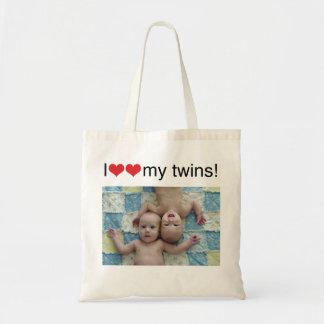Corazón I mi bolso de la foto de los gemelos Bolsa Tela Barata