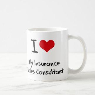 Corazón I mi consultor de las ventas del seguro Tazas De Café