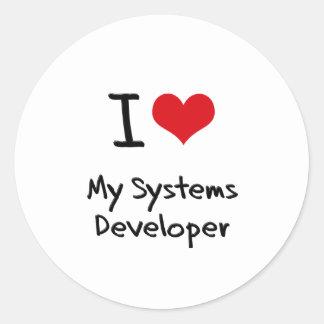 Corazón I mi desarrollador de los sistemas Pegatina Redonda